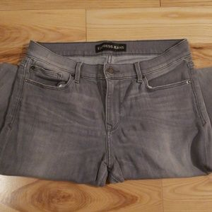 Express Gray Super Skinny Mid Rise Jeans